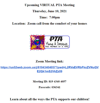 PTA MEETING DETAILS