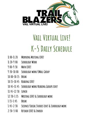 K-5 Live Schedule