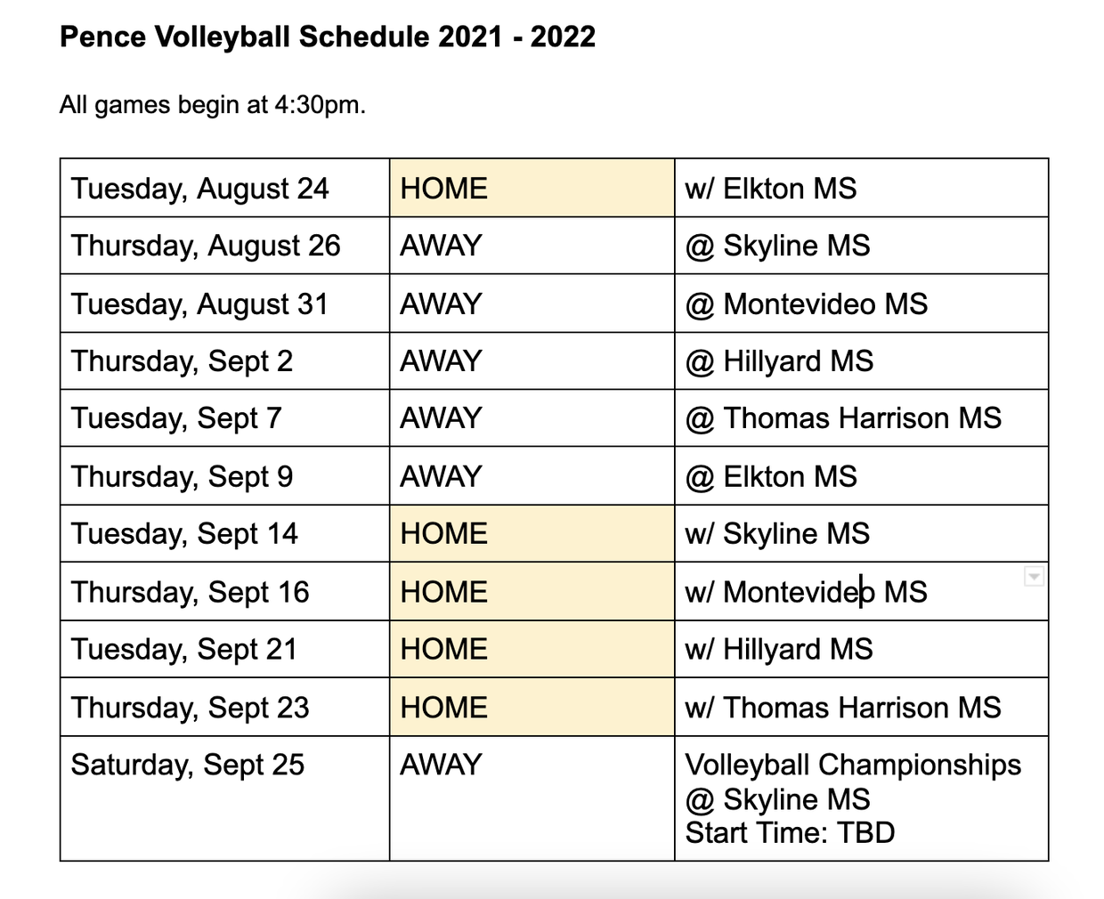 Pence Volleyball Schedule 2021-2022