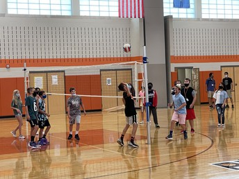 Playing Volleyball in Gym Class