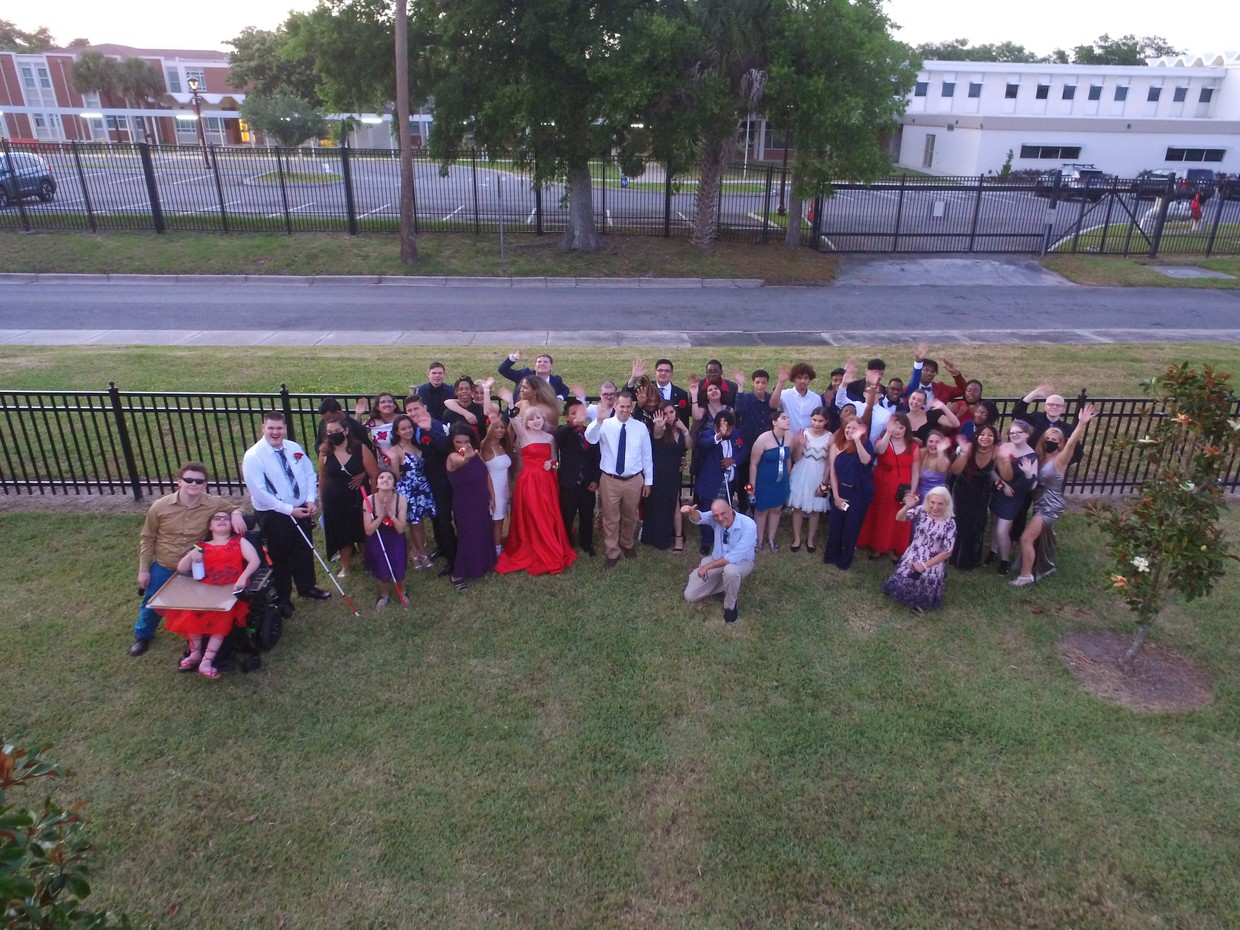 Group shot of all of the 2021 Prom attendees