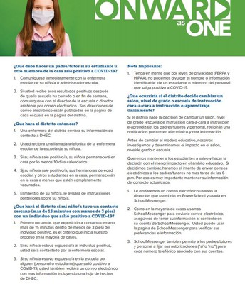Spanish versions of our Onward as One and COVID Communal Spread Information
