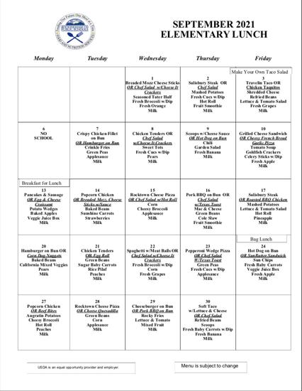 Elementary Lunch Menu Sept. 2021
