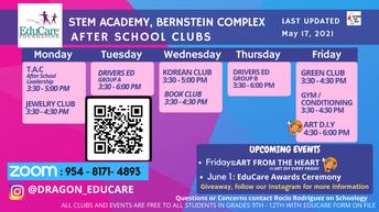 Educare After school Club Schedule