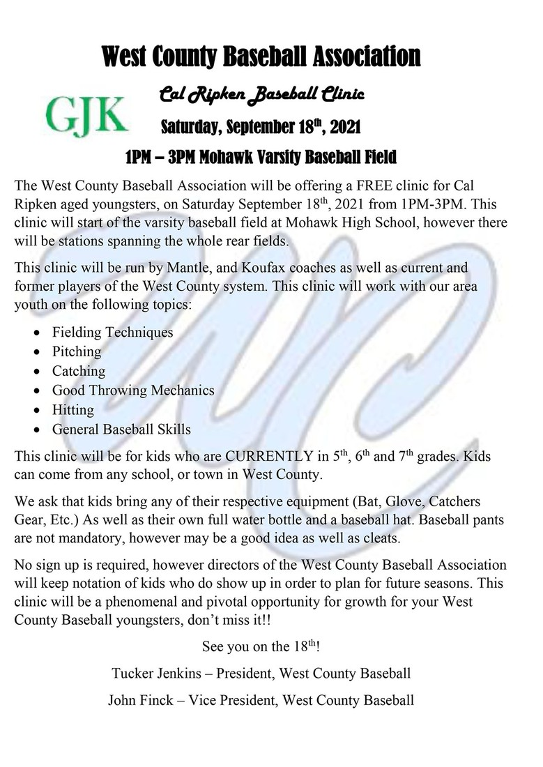 flyer with text of complete event info included above; west county baseball logo watermarked below text