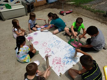 Fireworks cooperative painting