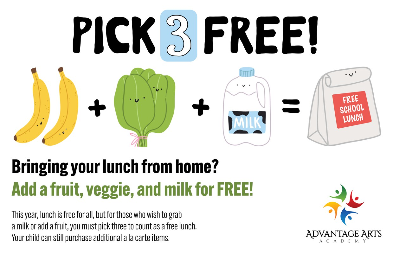 Pick three free lunch option.