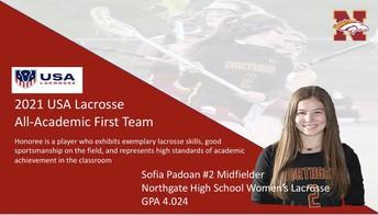 Senior Sofia Padoan Makes USA Lacrosse All Academic 1st Team