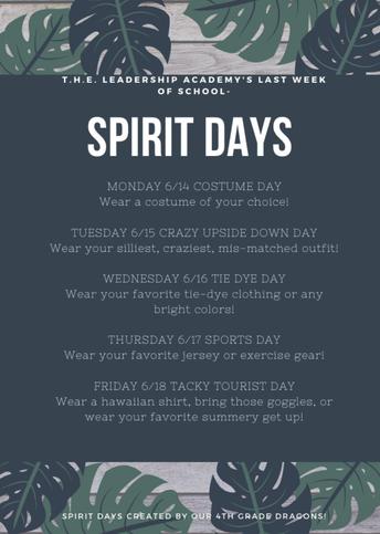 Last Week Spirit Days