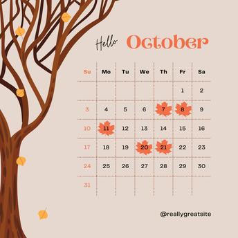 Important GCPS Calendar Dates for October, 2021