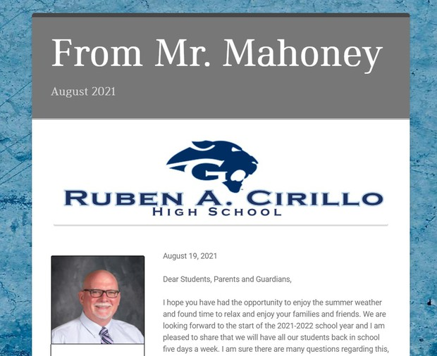 Welcome Letter from Mr. Mahoney