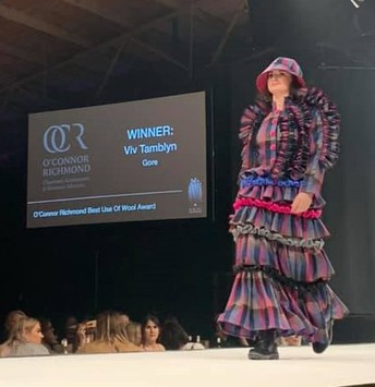 Winner of the O'Connor Richmond - Best use of Wool Award (Open Section).  Modelled by Ex St Peter's College student - Lucy Swain