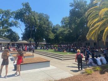 Students Safely Socializing During Break