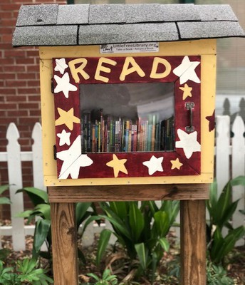 Borrowing from the Little Free Library...