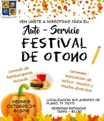 Auto-Servicio Festival De Otono Viernes, Octubre 29, 2021 al las 6-8 de la tarde