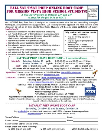 PSAT/SAT Bootcamp Opportunity