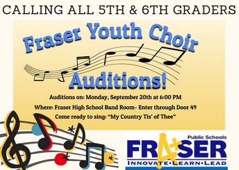 Attention 5th & 6th Graders: Fraser Youth Choir Tryouts Tomorrow