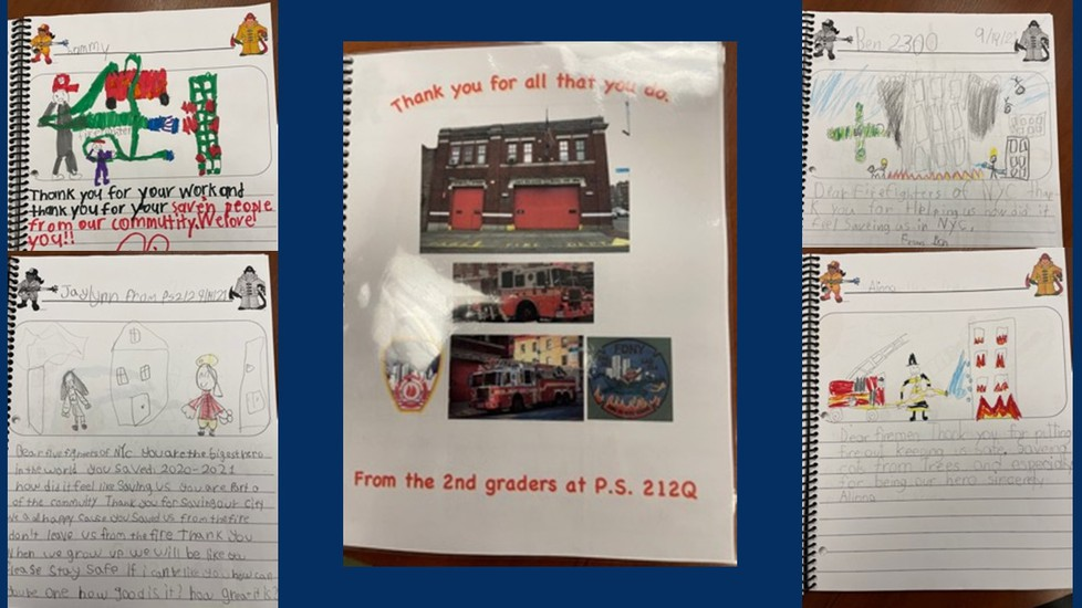 All students in grade two created and illustration and wrote a letter of gratitude for our first responders.