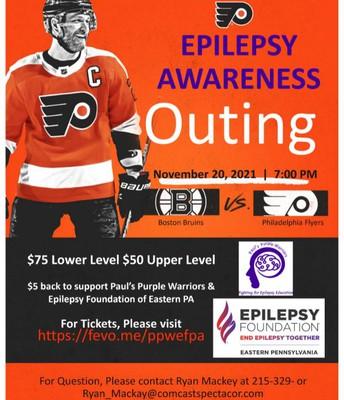 Paul's Purple Warriors & the Epilepsy Foundation presents a Philadelphia Flyer's Epilepsy Awareness Event