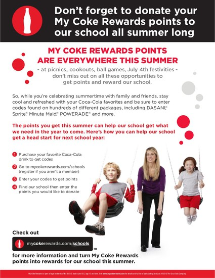 Please help Reading by donating Coke Rewards Codes all summer long!