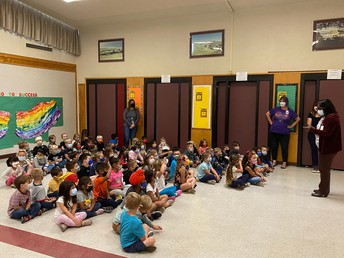 Kinder students engaged