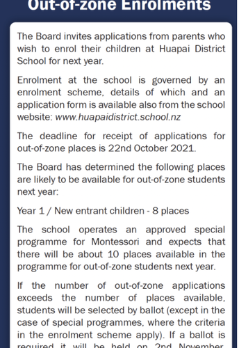 2022 - Out Of Zone Enrolments