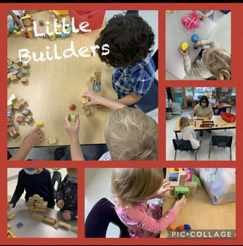 Kinders get creative with building materials!
