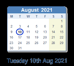 the first day of school is tuesday, august 10th