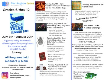 Tails & Tales Summer Programs at Barrington Public Library!