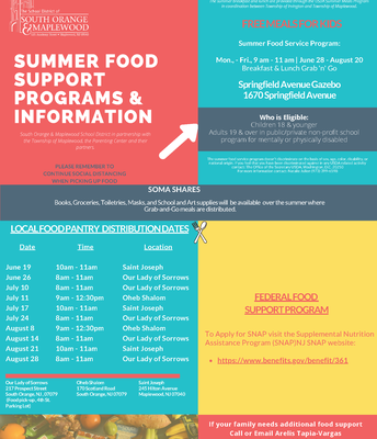 SOMSD Summer Food Support Programs & Information:  To Begin June 19