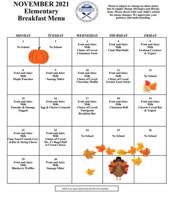 November Breakfast Menu