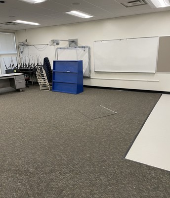 Classroom with new carpet & tile