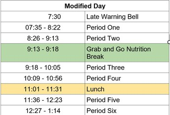 Modified Day Schedule: Every Thursday
