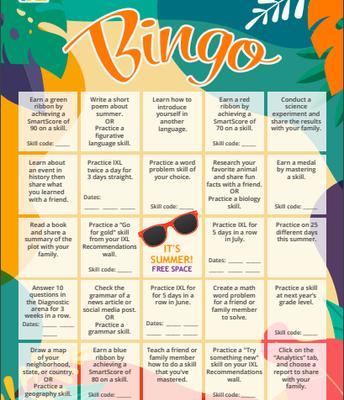 IXL BINGO Challenge