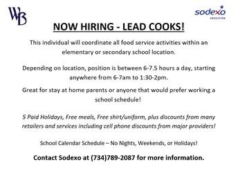 Now Hiring - Lead Cooks!