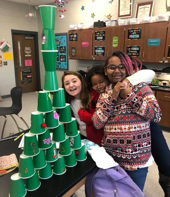 STEM students had to make the tallest and most decorative tree out of given materials. #lmmsrocks