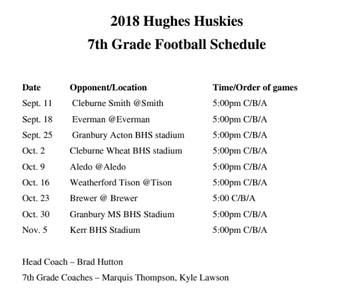 Hughes 7th grade Football Schedule