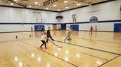 Floor hockey action