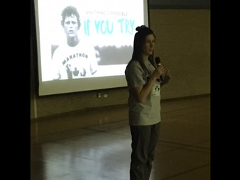 Mrs. Pahl leading the Terry Fox assembly