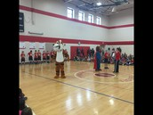 Sgt Stripes supporting Jump Rope for Heart during today's assembly!