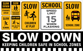 School zone and car rider drop off safety reminders