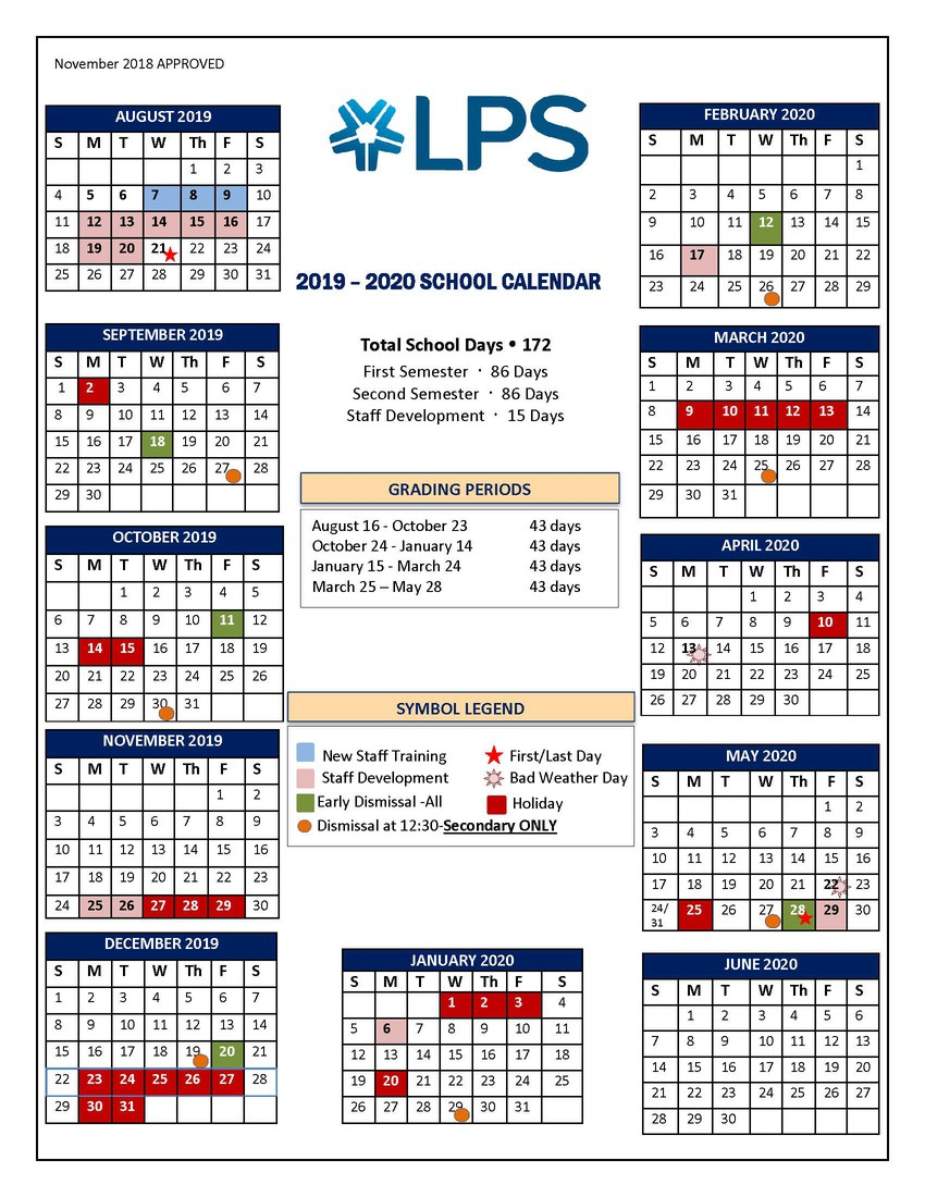 Lps 2019 Calendar LPS Secondary Campus