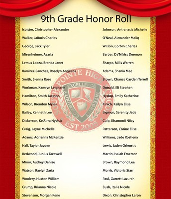 9th Grade Honor Roll Students