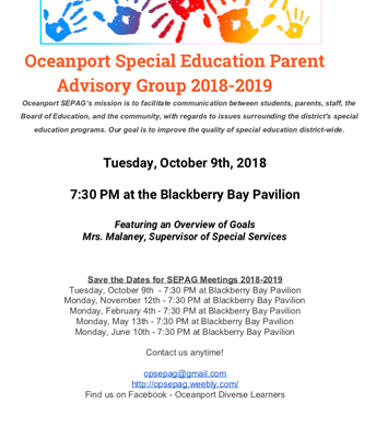 Join Spec. Education Parent Advisory Group on October 9th