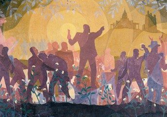 Aaron Douglas: From Slavery to Reconstruction, Aspects of Negro Life series, 1934