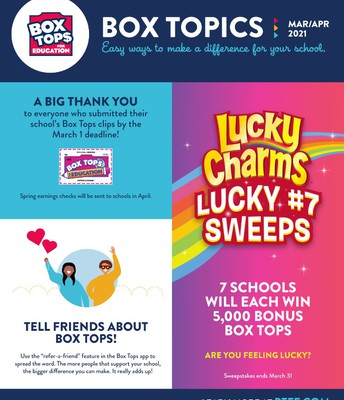Box Tops March/April Letter!