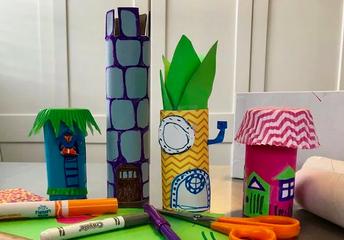 7. MAKE cardboard tube houses.