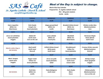 JAN 11 - FEB 5 LUNCH CALENDAR