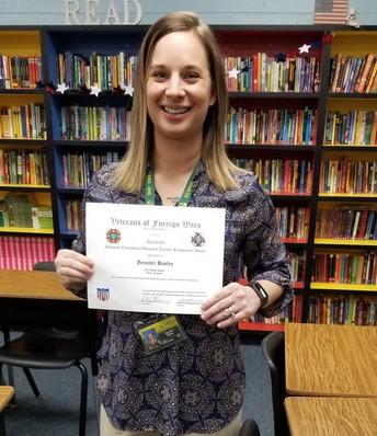 VFW Post 1322 National Citizenship Educator Teacher Recognition Award