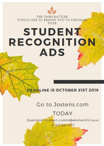 Yearbook Recognition Ads due Oct. 31